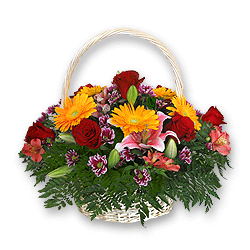 Basket with roses, alstromeries decorated with verdure to Chernivtsi