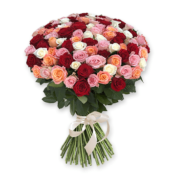 Bouquet of different color roses (60 cm.) to Chernivtsi