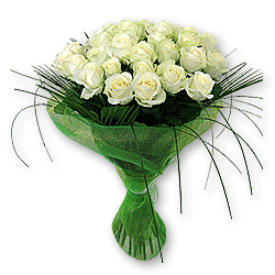 Bouquet of white roses (60 cm.) decorated with verdure to Chernivtsi