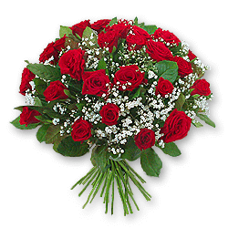 Bouquet of red roses(80 cm.) decorated with verdure to Chernivtsi